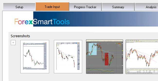 Detail from the Forex Smart Tools Trade Log with Screenshot import