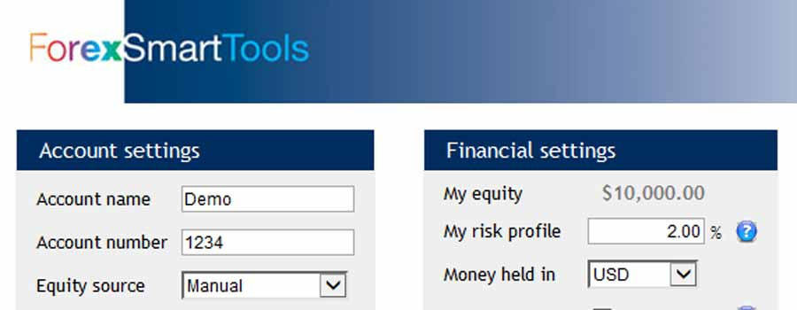 The Forex Smart Tools Calculator lets you set your risk profile for all trades in advance